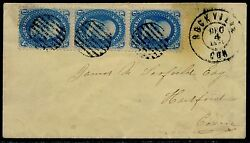 63 Strip Of 3 On Cover With Rockville, Ct Cds Cancel To Hartford, Ct Bq6391