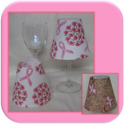 Breast Cancer Pink Ribbon Small Fabric Wine Glass Lamp Shade Tea Light Incl.