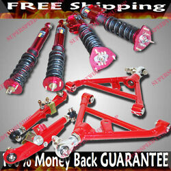 Fits 89-94 240sx S13 Combo F And R Lower Control Arm+16 Ways Damper Coilover Red