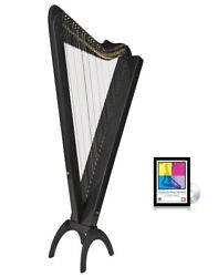 33 String Black Electric Grand Harpsicle Harp W/ Full Levers Stand And Dvd Book