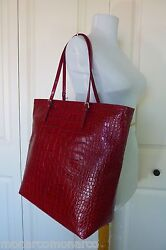 Nwt Furla Cherry Red Distressed Croco Embossed Leather D-light Tote Bag 378