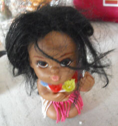 Vintage 1960s Vinyl Hawaii Girl Doll Squeeky Toy 4 1/2 Tall