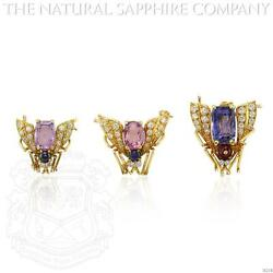 18k Yellow Gold Sapphire Ruby And Diamond Fly Pins J4238