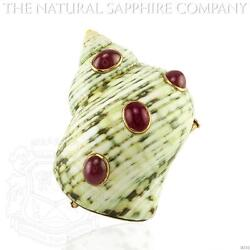 18K Yellow Gold Cabochon Ruby Brooch (J4330)