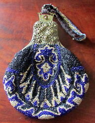 GORGEOUS ANTIQUE LINED BEADED HAND BAG PURSE W FILIGREE FRAME X-COND.