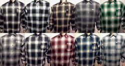 Cal Top Casual Shirt Long Sleeve 100 Acrylic Button-front Old School Flannel