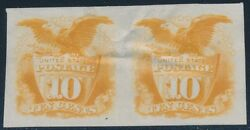 116p3 10¢ 1869 Plate Proof On India Pair Superb Br260