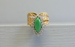 Gorgeous Elegant 18k Gold Apple Jade And Sapphire Ring Size 7 1/2