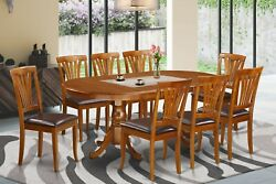 9pc Oval Dinette Dining Room Set Table W/ 8 Leather Seat Chairs In Saddle Brown