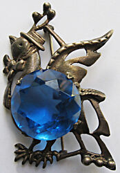 Vintage Sterling Charming Big Blue Faceted Glass Belly Goose With Spring Hat Pin