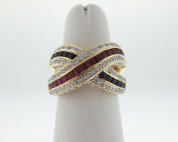 Fine Jewelry Natural Rubies Blue Sapphires Diamonds Solid 18k Yellow Gold Ring