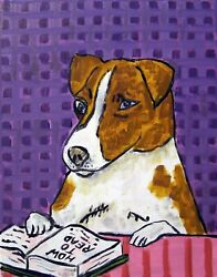 LIBRARY ART with jack russell terrier dog  13x19  poster  modern  GLOSSY PRINT