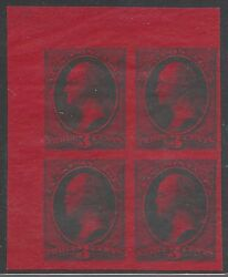 #158-E1 BLOCK OF 4 ESSAY 3¢ GREEN ON PALE ROSE EXPERIMENTAL INK