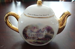 Thomas Kinkade Teapot Home Is Where The Heart Is, Signed In Plate Teleflora