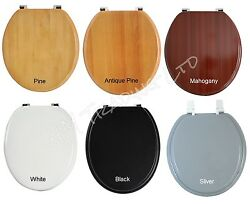Wooden Or Mdf Bathroom Standard Size Toilet Seat Traditional Chrome Hinge Wc