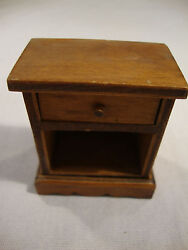 Vintage Halls Lifetime Toys Brown Wood Night Stand End Table Doll House L 2