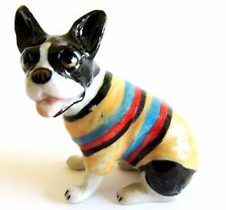 French Bulldog in Striped Jacket Miniature Ceramic Hand Painted Dog Figurine