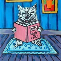westie west highland white terrier reading dog art tile coaster gift JSCHMETZ