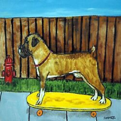 Boxer boxer dog boxer art skateboarding tile gift ceramic coaster