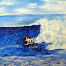 jack russell terrier surfing dog art tile coaster gift artwork