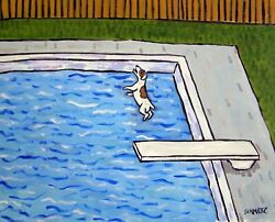 JACK RUSSELL TERRIER dog at the pool 8x10  art PRINT poster painting gift