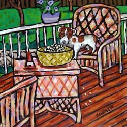 jack russell terrier popcorn coaster dog art tile pet