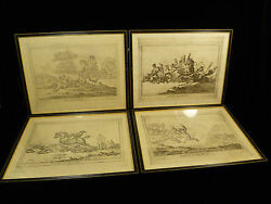 Four Comedic British Fox Hunting Prints By Gillray And Pub. By Humphrey - C. 1800