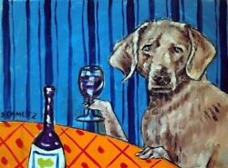 Weimaraner Picture At The Wine Shop Dog Art   8.5x11 Glossy Photo Print