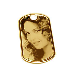 375 Solid 9ct Gold Photo Engraved Dog Tag With Chain And Engraving Options Gift