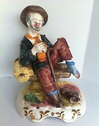 Large Capodimonte Hobo On A Bench Figurine Made In Italy $94.99