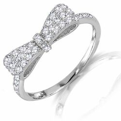 Formal Bow Tie Ribbon Clear Cz Genuine Sterling Silver Ring