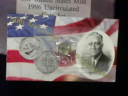 1996 W Roosevelt Dime Single In Mint Cello Free Shipping In The Usa