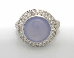 Well Made 17.00 Ctw. Diamonds Chalcedony Ring 18.7 Grams 18k White Gold Size 6.5