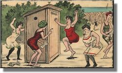 Ladies Outhouse Bathroom Picture On Stretched Canvas, Wall Decor Ready To Hang