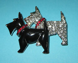 Scotty Dogs Pin Scottish Terrier Brooch Black Silver Crystals Red Collars New