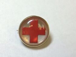 Antique 14k Yellow Gold Red Cross Pin Broach Workers Hostipal Emergency Ww1 Wwi
