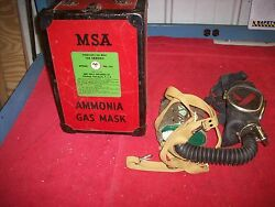 Vintage 1930and039s 40and039s Nos Msa Mine Safety Appliance Co Ammonia Gas Mask Orig Box