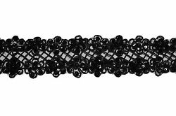 Unotrim 2.25 Sheer Organza Embroidered Black Ribbon Trim Bead Sequins By Yard