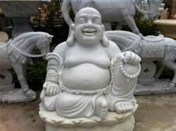Huge White Marble Buddha Statue Fat And Happy Indoor / Outdoor From Vietnam