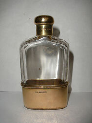 Antique English 9k Gold Hand Hammered Gold Cup And Cut Crystal Flask
