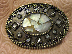 Oval Brass Belt Buckle Inlaid With Mother-of-pearl In Scrolling And Beds
