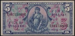Military Payment Cert Series 521 5 Note Xf-au+ Gem -- Very Rare Wl6879