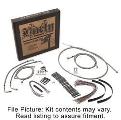 Burly Brand Stainless Extended Cable Kit Harley 14-15 W/ Abs 15 Handlebars
