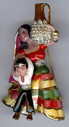 Coro Craft Vintage Sterling Silver Enamel Rhinestone Ethnic Mother And Son Pin