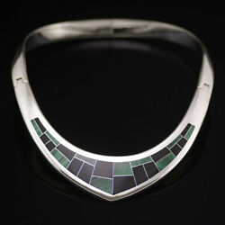 Mexican Sterling Silver Neck Ring W/ Malachite And Onyx