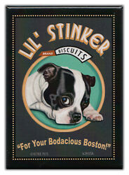 Retro Dogs Refrigerator Magnets: BOSTON TERRIER  BISCUITS  Vintage Advertising