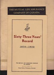 Mutual Life Assurance Company Of Canada 1932 Booklet