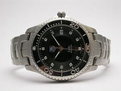 Tag Heuer Link Stainless Steel Mens Watch Wj1113-0 Black Dial Diamond Markers