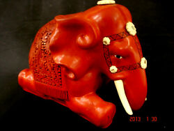 10 1/2 W Chinese Early Republic Lacquered Wood Cinnabar Elephant
