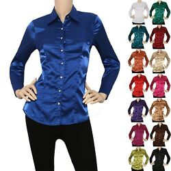 IRON PUPPY Women Satin Charmeuse LSlv Button Down Solid Collar Shirts Blouse